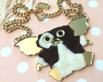 Gizmo The Gremlin Fur 3D Necklace, Laser Cut Acrylic, Plastic Jewelry
