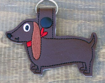 Doxie Keyring, Weiner Dog Keyring, Custom Embroidery,  Cartoon Dachshund, Backpack Tag, Gift for Him, Gift for Her, Dachshund Keychain