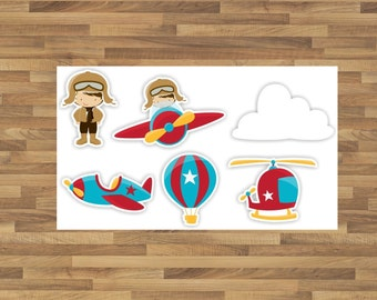 INSTANT DOWNLOAD   Airplane Cupcake Toppers, Airplane Baby Shower, Airplane Birthday, Air Balloon birthday