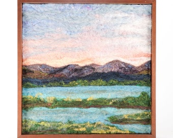Wool Landscape Painting - Needle Felted Fiber Art Landscape - Shores of the French Broad River (12x12 Walnut Frame)