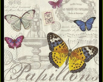 Decoupage Paper Napkins Butterlfy/Papillons -  Use For Decoupage, Mixed Media, Scrapbooking, Collage And Altered Art Projects