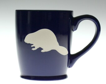 Beaver etched ceramic coffee mug, dog gift, beaver gift, beaver glass, beaver mug,coffee gift