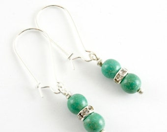 25%OFFSALE Simple Turquoise Earrings, Green Turquoise Dangle Earrings, Rhinestone and Turquoise Earrings