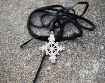 Ethiopian Cross on Black Leather Necklace