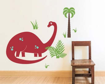 Dinosaur Wall Decal Brontosaurus Cute Dino Wall Sticker Kids Baby Nursery Room Prehistoric Room Theme (LARGE SIZE)