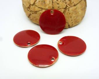 4 sequins round 15mm glazed tomato red (PMSQ14)