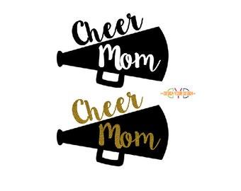 Cheer Mom Megaphone Adhesive Sticker or Iron-On