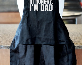 Hi Hungry I'm Dad, Fathers Day Gift, Barbecue Apron, BBQ Accessories, Gifts for Dad, Dad Joke Apron, Gift Ideas for Dad, Grilling Apron