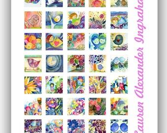 2012 1 inch Square Digital Collage Lauren Alexander Art PDF