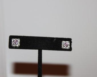 Vintage Sterling and Pink CZ Stud Earrings