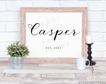 Family Name Sign - custom name and date