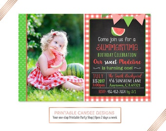 Watermelon Birthday Invitation, Watermelon Birthday, Summer Birthday,  Picnic Party, Watermelon Invitation, DIY Custom Printable