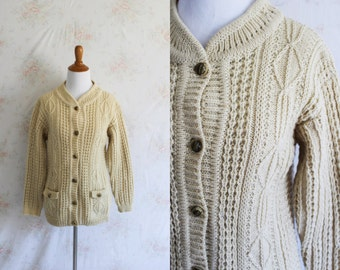 Vintage 60s Fisherman Cardigan, 1960s Wool Sweater, Cable Knit, Cowichan