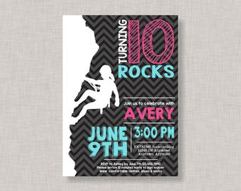Rock Climbing Invitation, Girl Rock Climbing Invitation, Rock Climbing Birthday Invitation, Rock Climbing Party, Girl, Aqua, Pink