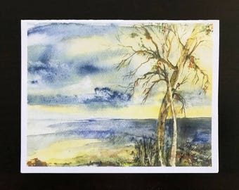 FREE SHIPPING,Blank Cards, Sunset, Lakeshore,Waves,Twilight, Seinna Sand Beach,Stormy  Clouds, Tree, Watercolor Print by Janet Dosenberry