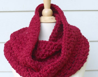 Oversized cowl scarf - cranberry red chunky infinity scarf - crochet chunky scarf - mothers day gift
