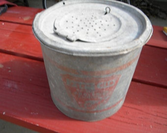 Bait Bucket : Antique FALLS CIY- The Anglers Choice- Galvanized Fish bait Bucket- Complete assembly.