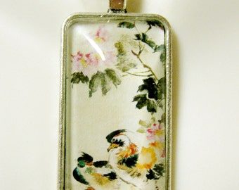 Chinese Mandarin duck watercolor pendant and chain - BAP16-011