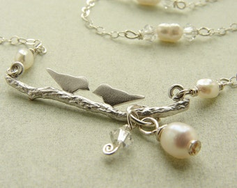 Love bird necklace, Bridal necklace Wedding jewelry set, Swarovski Crystals, Bridal jewelry wedding necklace