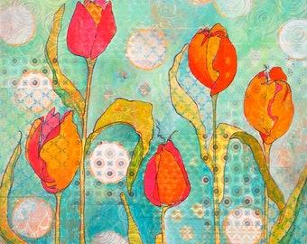 The Wave Orange Tulips Mixed Media Giclee Print
