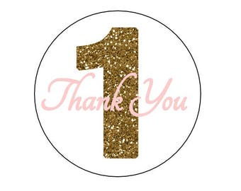 24 Gold One Thank You Stickers, First Birthday, Gold and Pink, Labels, Envelope Seals, First Birthday Stickers, Gold Glitter, Gold One
