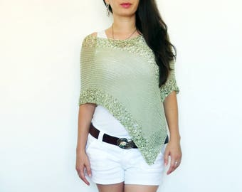 Mint Green Summer poncho, Women ponchos, Cotton poncho Beach cover up Summer wrap Cropped sweater Loose knit poncho for women Cotton shawl