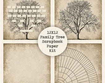Vintage family tree print template instant download family tree digital scrapbook paper kit instant download 12x12 papers fan chart saigontimesfo