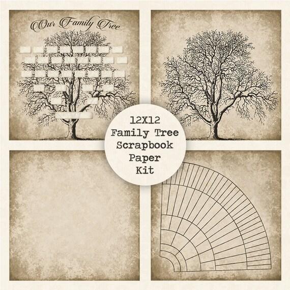 Family Tree Digital Scrapbook Paper Kit Instant Download 12x12