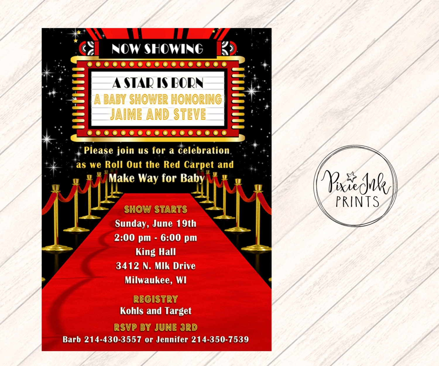 Red Carpet Baby Shower Invitation Hollywood Baby Shower