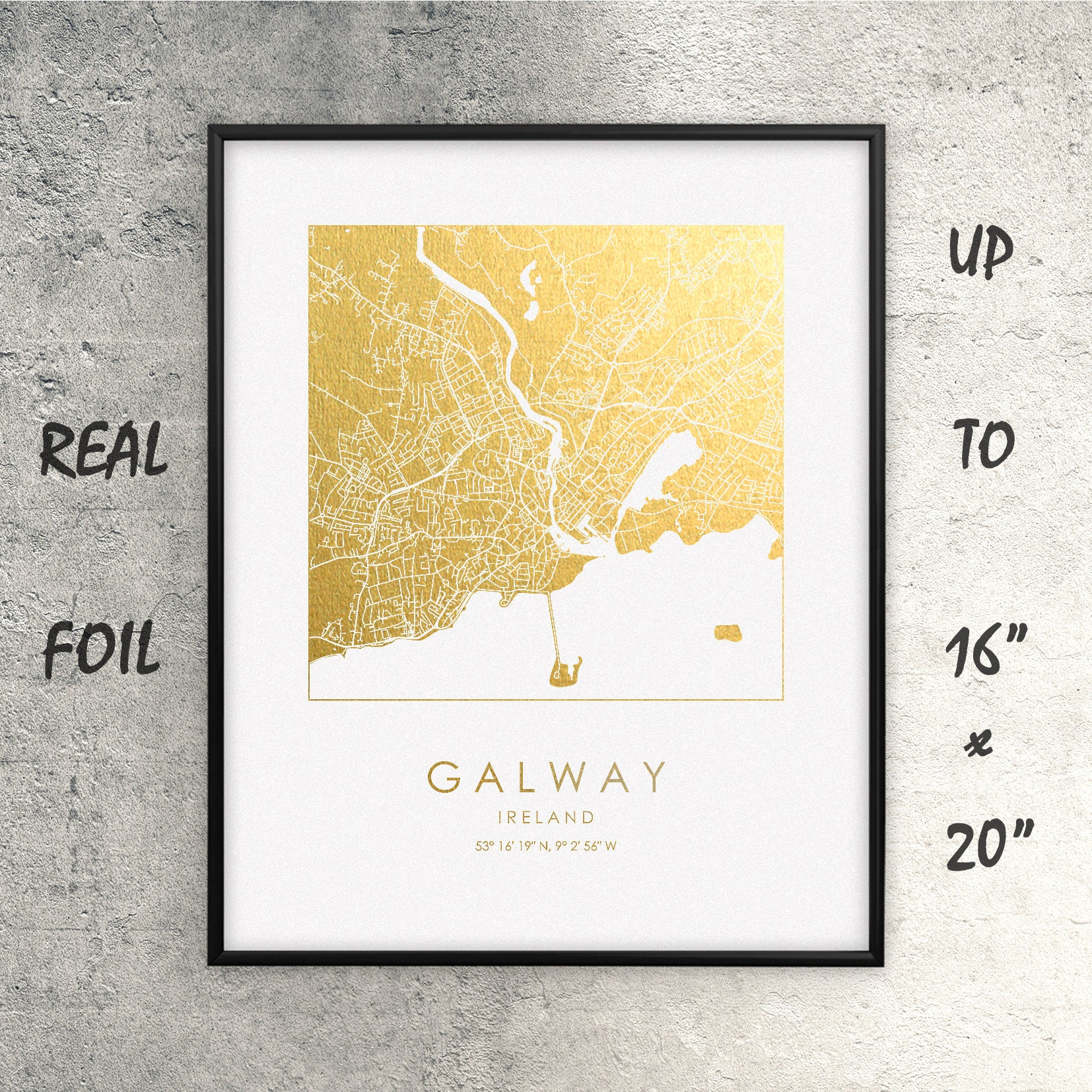 Galway City Map Gold and Silver Foil Print Gaillimh Large