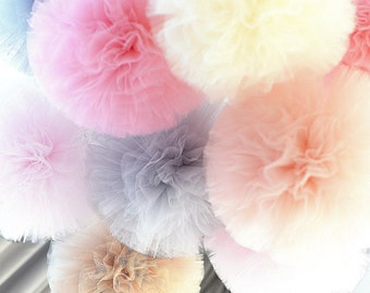 Tulle pom poms set of 3 large 12'size - custom color poms - wedding party decorations / nursery / cluster / set
