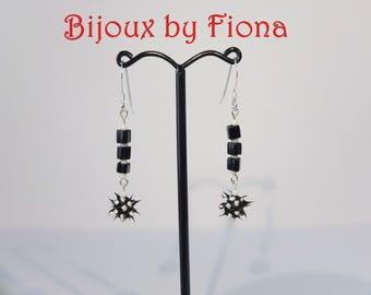 Black and white spiky earrings, cute, sterling silver, monochrome, punk, alternative, handmade, lightweight