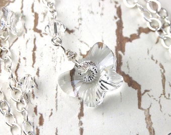 ON SALE- The Crystal Butterfly Necklace - Sterling Silver and Swarovski Crystal