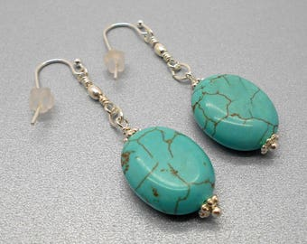 Turquoise Earrings, Turquoise Magnesite Oval Dangle Earrings - Dangle Earrings, Good Luck, Turquoise, Southwest, Simple, Dangle Earrings