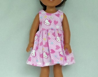 Hello Kitty and Hearts in Pink Doll Dress Handmade To Fit 14.5 Inch Dolls Like Wellie Wishers