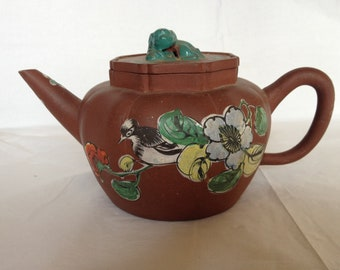 Vintage Chinese Yixing Red Clay Teapot ~ Enameled Bird & Flowers ~ Made in China