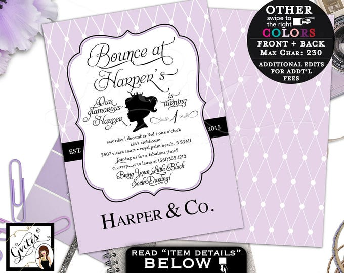 """Lavender Baby and Co Birthday Invitation, Lilac Purple White and Black. Bounce Birthday Party, Breakfast themed. 5x7"""" Double Sided Gvites"""
