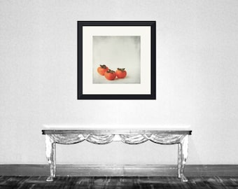 Persimmon 3 - seasonal Fruit, Exotic fruit, shizi, kaki, orange halloween, sweet autumn fall wall decor Fine Art Print 8x8