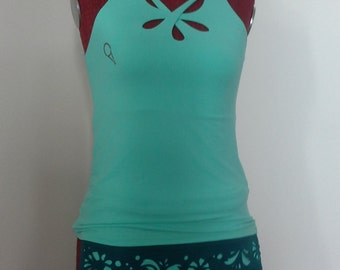 Tennis court, three drops tank top, full skirt with carved half wheel