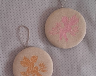 Set two large balls embroidered Angels Shabby romantic