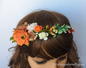 Flower crown, wedding flower crown, bridal flower crown, fall wedding flower crown, rustic wedding flower crown, bohemian floral headpiece