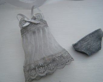 MOMOKO grey lace underwear set by Jing's Crafts