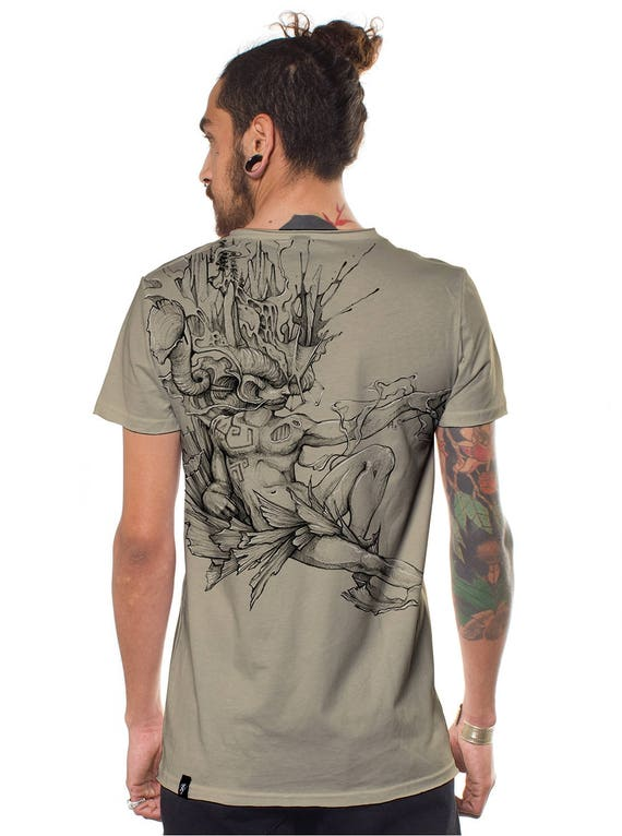 Men's Alternative T-Shirt DM The Father Point of Creation Going Out Top Sand Brown - Street Art Graphic Festival Psychedelic Trippy Tee Kv9xhmL