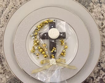 Chocolate cross with host and pearls favors confirmation baptism communion