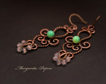 Wirewrap earrings with chrysoprase and rose quartz-crystal healing-Tribal jewelry-Boho-Copper wire