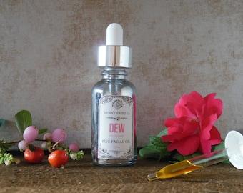 DEW fine facial oil | wildcrafted natural anti-aging serum | antioxidant vitamin c serum | CoQ10, rosehip, squalane