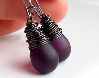 Deep Plum Glass Earrings, Gunmetal Wrapped, Satin Eggplant Purple, Czech Glass, Drop Earrings, Aubergine, Plum