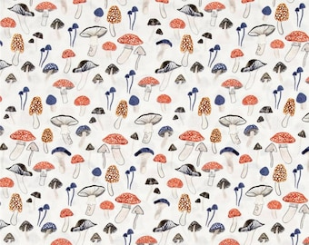 Woodland Fabric by the Yard, Cotton, Quilting, Nursery, Baby, Novelty, Childrens, Orange, Blue, Dear Stella, Mushroom, Toadstool, Decor