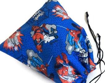 Reusable bag Ultimate Spider-Man, drawstring bag, reusable gift bag, small toys bag, knitting bag, project bag, lunch pouch, cotton fabric