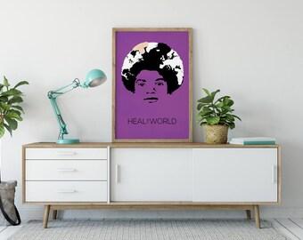 Michael Jackson Poster Art Print - Heal the World - Pop Art - Michael Jackson Art - Michael Jackson Gift - MJ Poster - King of Pop
